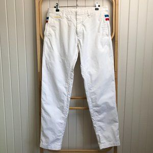 DSQUARED White Button Fly Pants Blue and Red Stripe Accent